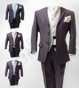 Boys-Dark-Grey-Wedding-Suits-Pageboy-Grey-Ivory-Gold-Communion-Prom-Suit-5-Piece