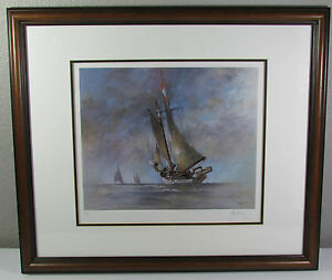 John-Kelly-Ketch-Sailboat-Hand-Signed-Framed-Artists-Proof-COA-Edition-500