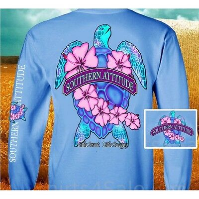 Country Life Southern Attitude Turtle Flower Girlie Long Sleeve Bright T Shirt
