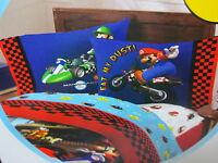 Mario Kart Wii Super Mario Race Reversible Standard Pillowcase - Red, Blue
