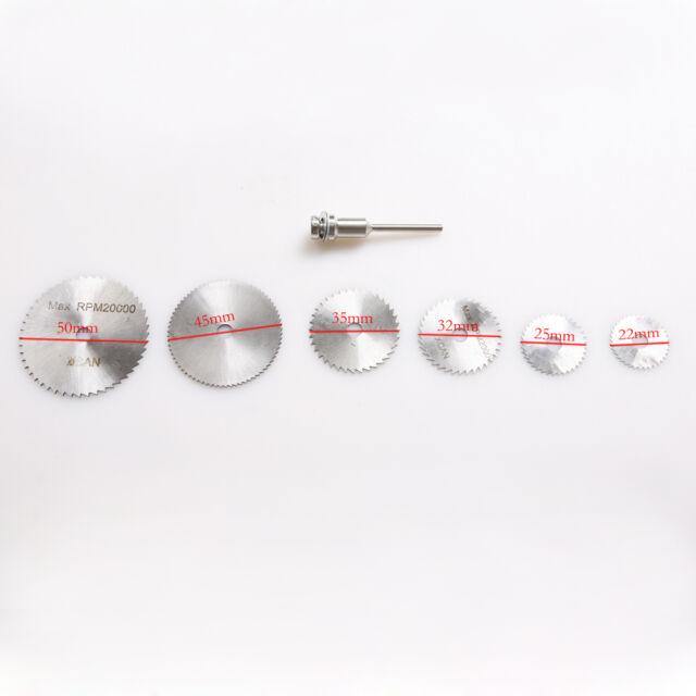 6Pc Rotary Cutter Mini HSS Circular Saw Disc Blades Mandrel for Hobby Drill