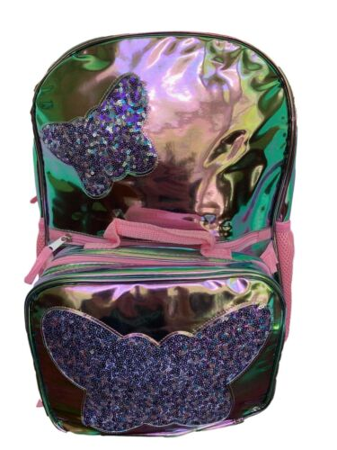 Pink Holographic Backpack and Lunchbox Set with Sequin Butterflies for Girls