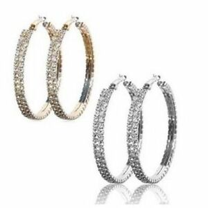Details About Austrian Crystal Hoop Earrings Made With Swarovski Crystals In Gold Overlay