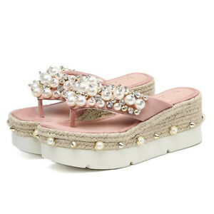 Sandali donna ciabatte rosa perle zeppa sabot zeppa 7 cm eleganti e comodi CW929