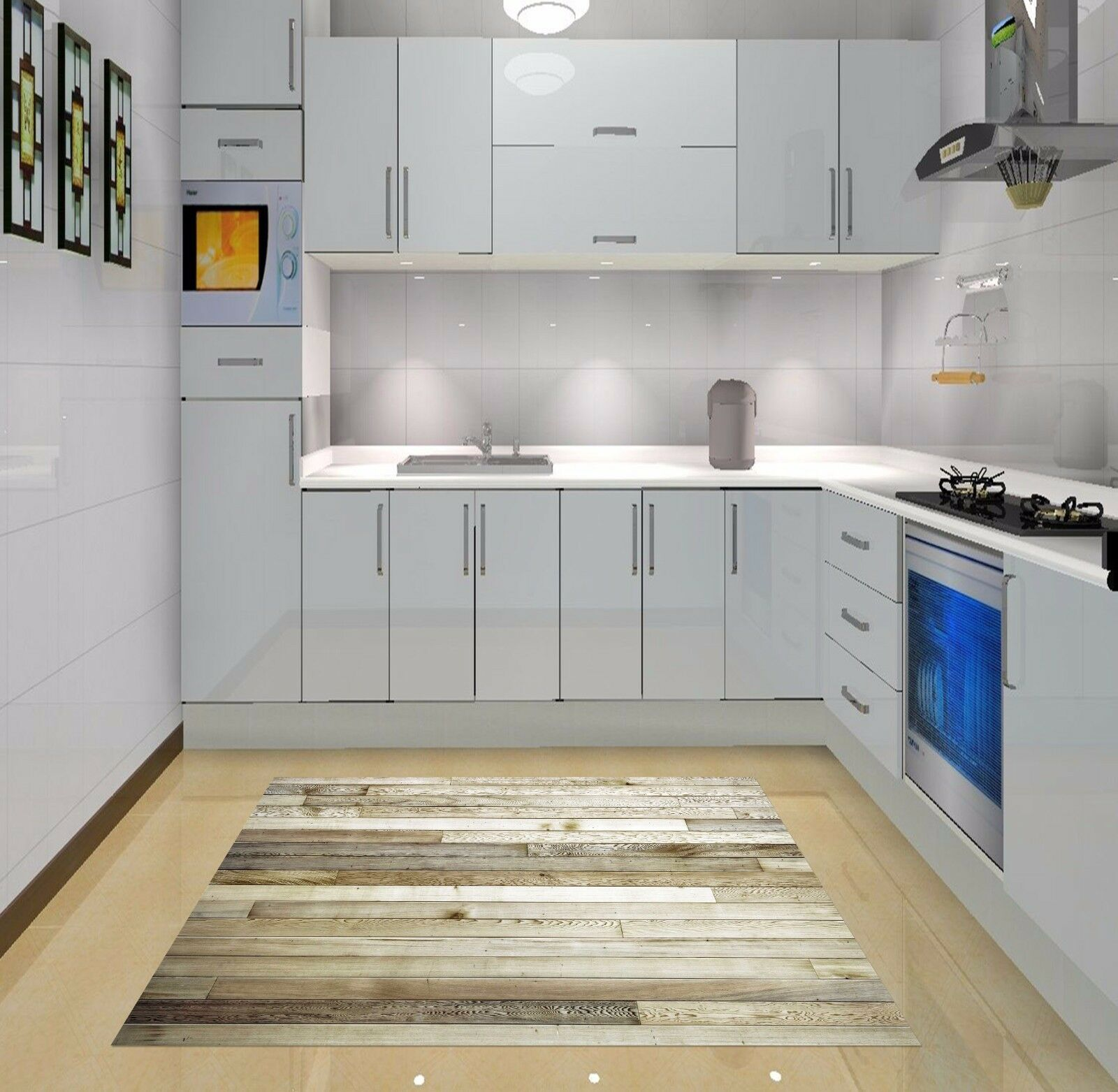 3D Wooden Boards Kitchen Mat Floor Murals Wall Print Wall Deco AJ WALLPAPER AU