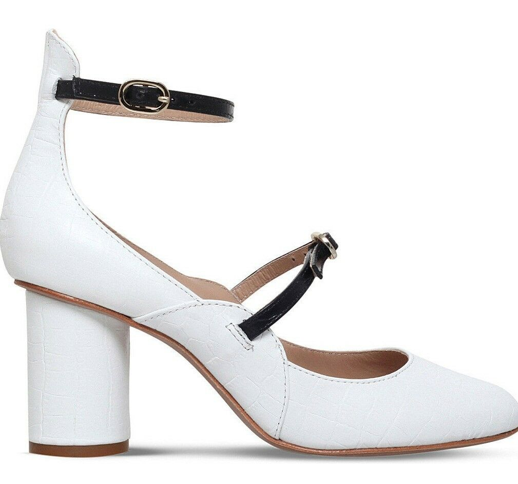 KURT GEIGER LONDON LONDON LONDON NIB MAGGIE blanc LEATHER COURTS HEELS chaussures Taille 8 MAKE OFFER d0d691