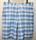 NWT Allan Flusser Golf Men Shorts Blue Plaid Sz 36 Flat Front