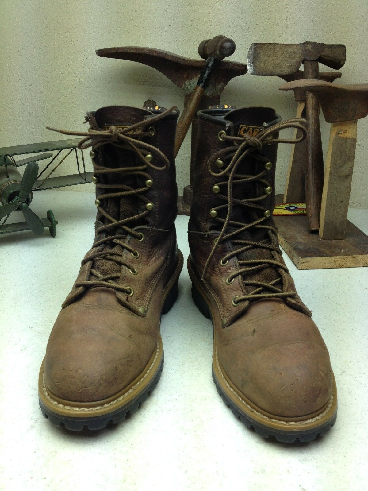 BROWN DISTRESSED CAROLINA PACKER LOGGER LEATHER LACE UP PACKER CAROLINA TRUCKER WORK BOOTS 8 4E a39be3