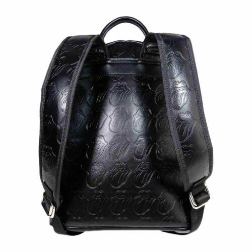 School Bag Handbag Black Embossed The Rolling Stones Logo Fashion Backpack