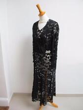 VINTAGE 1930's BIAS CUT BLACK LACE EVENING DRESS & JACKET with RHINESTONE BUCKLE