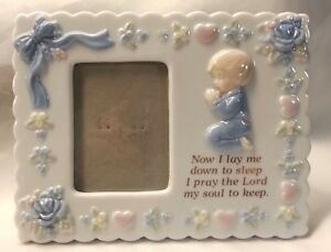 Baby Boy Picture Frame Ceramic Porcelain Praying Now I Lay Me Down To Sleep