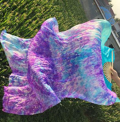 1pair(L+R)hand 1.8m belly dance silk fan veil turquoise tie-dye