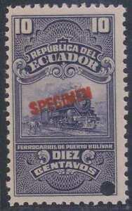 """ECUADOR 1921-22 REVENUES RAILROAD Olamo #2 Bertossa S21 PERF PROOF + """"SPECIMEN"""""""