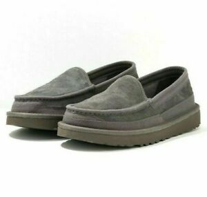 UGG-Mens-Slippers-Dex-Dark-Grey-Suede-Wool-Moccasin-Slippers-RRP-90