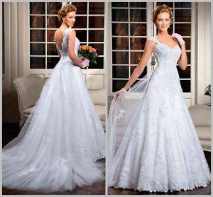 White-ivory-Lace-Wedding-Dress-Bridal-Gown-Custom-Size-4-6-8-10-12-14-16-18-20