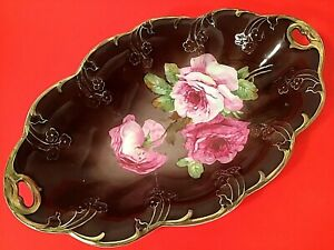 "C T ALTWASSER BOWL HAND PAINTED 14"" LARGE 1875-1900 DISH GOLD ACCENTS ANTIQUE"