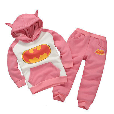 2PCS Kid Baby Boys Girls Batman Pullover Hooded Coat + Pants Set Clothes Outfits