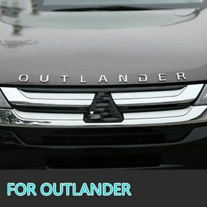 For Mitsubishi Outlander Chrome Car 3D Letters Hood Emblem Logo Badge Stickers black