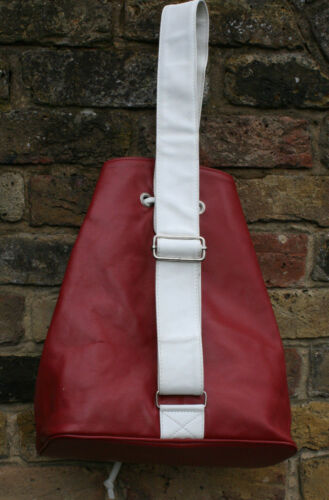 Leather Style white 100 Shoulder Backpack Red Bag Swissdesign Detail wWIqgR6Aq