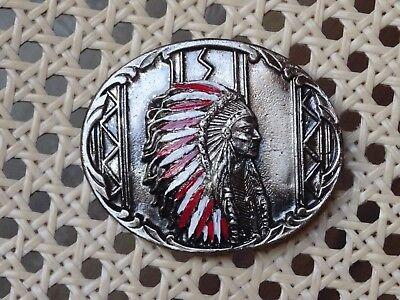 FäHig Gürtelschnalle Indianer Chief Buckle Usa Original Siskiyou Oregon Rar Sammeln