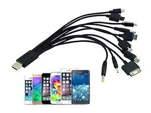 UNIVERSALE 10 in 1 MULTI CAVO CARICABATTERIA USB per