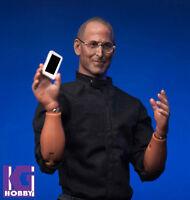 Custom 1/6 Scale Steve Jobs iceo figure+Glasses, tablet,mobile,computer acessory
