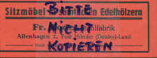 ALTENHAGEN, Werbung 1933, Fr. Rode Stuhl-Fabrik Sitzmöbel Möbel Stühle Holz