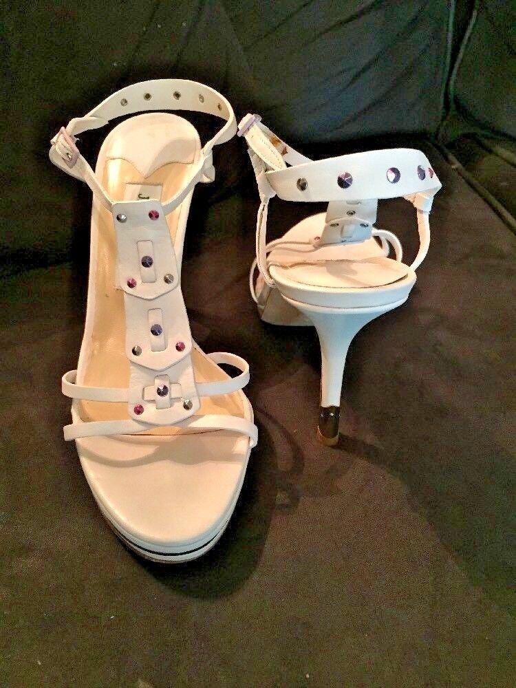 online al miglior prezzo Jimmy Choo Opalescent Rhinestone Stud Stud Stud Metal Heel bianca Leather Heels-38  outlet