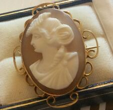 Lovely Ladies Antique Edwardian Stamped 9ct Gold Portrait Cameo Brooch Pretty