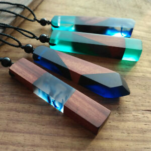 Vintage-Resin-Wood-colorful-pendant-Handmade-Chain-Necklace-Rope-Jewelry-Gift