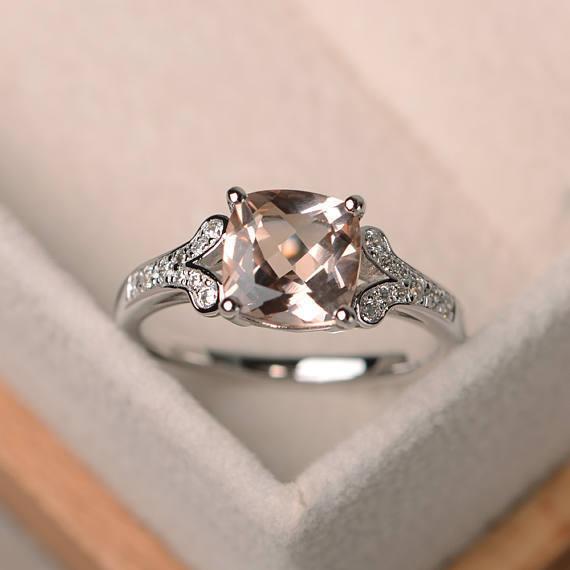 14K White gold 2.95 Ct Cushion Real Morganite Diamond Engagement Ring Size 6 7