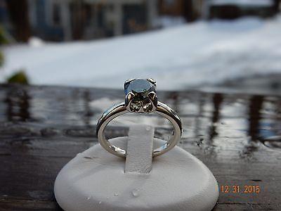Custom Made 14k WG 1 27ct Round Blue/Green Moissanite ring-size 6 3/4 | eBay