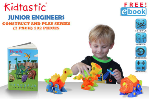 Pack of 3 Take Apart Fun STEM Learning Kidtastic Dinosaur Toys 106 pieces