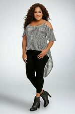 NWT Torrid Plus Size 3X Black/White Striped Knit Hi-Lo Top (GGG23)