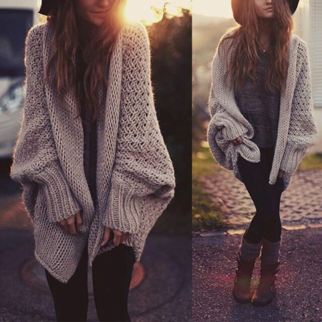 Extreem US Women Oversized Batwing Sleeve Knit Sweater Tops Loose Cardigan @EV66