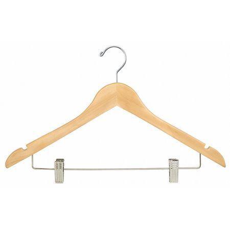 Wood Hanger,Natural,Pant Clips,PK100 ECONOCO WH1731CNC