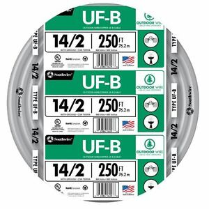 250 Roll 14 2 AWG UF B Gauge Outdoor Burial Electrical