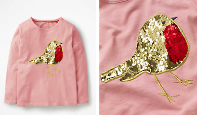 Girls MINI BODEN top t-shirt long sleeve age 2 3 4 5 6 7 8 9 10 11 12 years pink
