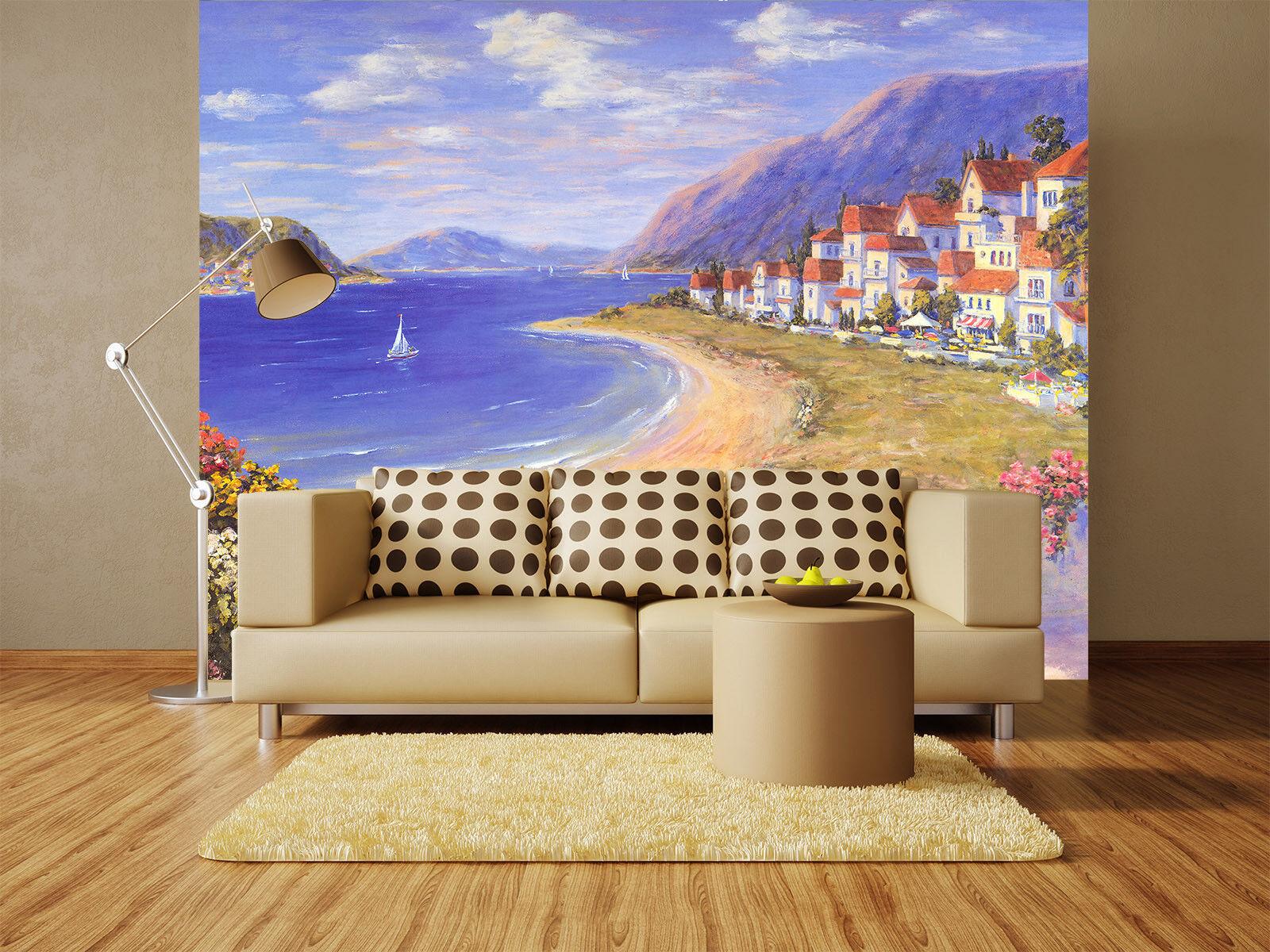 3D Villa Strand Landschaft 74 Tapete Wandgemälde Tapete Tapeten Bild Familie DE | Angemessene Lieferung und pünktliche Lieferung  | Shopping Online  | Exquisite (in) Verarbeitung