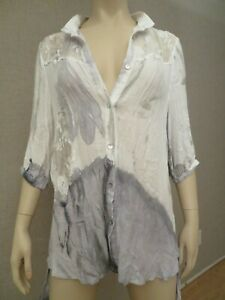 Soft-Surroundings-Hand-Painted-Tunic-Top-Blouse-S-M-White-Grey-Rayon-Lagenlook