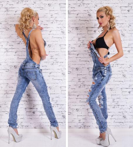 Women/'s Distressed Dungaree Denim Jeans Jumpsuit Overall XS//S//M//L//XL
