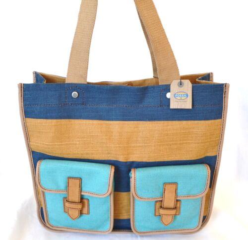 Brown Shay Schulter New Fossil Taschen Stripe Brieftasche Blue Einkaufstasche UVzGqSMp