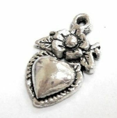 10 pieces 10x15mm Heart Tibetan Silver Alloy Charm Pendants - A0546