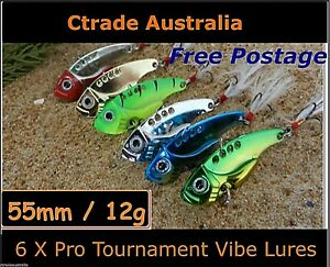 Vibe-Fishing-Lures-Switch-blade-Lure-6-Pack-55mm-12g-Pro-Vibes-Bream-Flathead