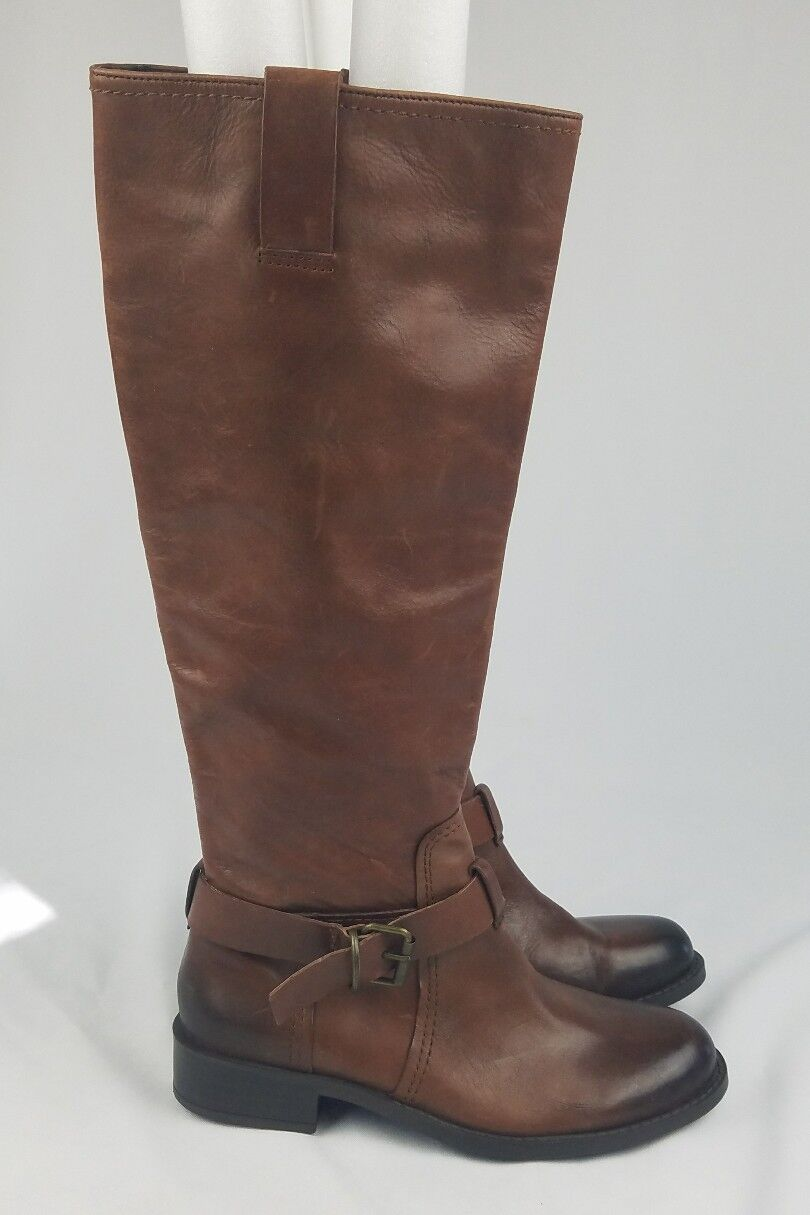 Vince Camuto Kabollans women 7.5B brown brown brown high rise boot round toe buckle strap 7482af