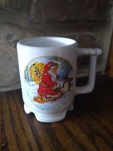 Frankoma-Yale-Cleaners-Guys-N-White-Hat-2000-Christmas-Santa-Claus-Coffee-Mug