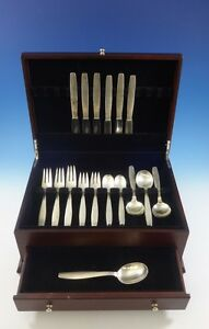 Hearty Swedish Modern By Allan Adler Sterling Silver Flatware Set Hand Wrought 49 Pcs Antiques Other Antique Furniture