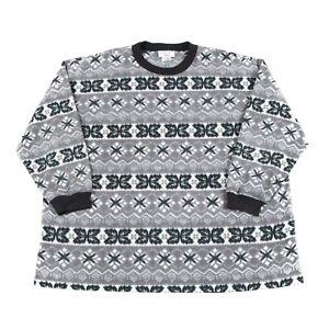 e7dab314565 Image is loading 90s-Vintage-Patterned-Fleece-Sweatshirt-Mens-L-Retro-