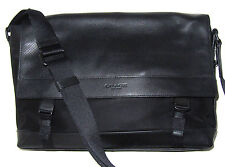 Coach Mens F71969 Black Sports Messenger Bag Perforated Leather Nylon NWT $450