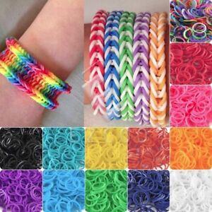 Details about 200/600PCS Kids Rainbow Rubber Loom Bands Bracelet Twistz  Marking Set DIY Crafts